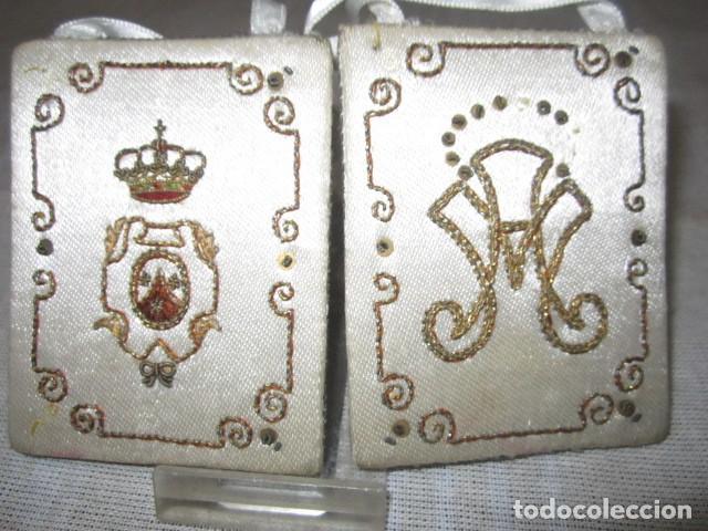 Antigüedades: Escapulario de la Orden religiosa del Carmen, en tela. 6 x 8 cms. - Foto 2 - 110456107
