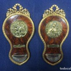 Antigüedades: PAREJA BENDITERAS LATON GUIRNALDA LAUREA VIRGEN CARMEN SAN JOSE FRANCIA PPIO S XX. Lote 131790655