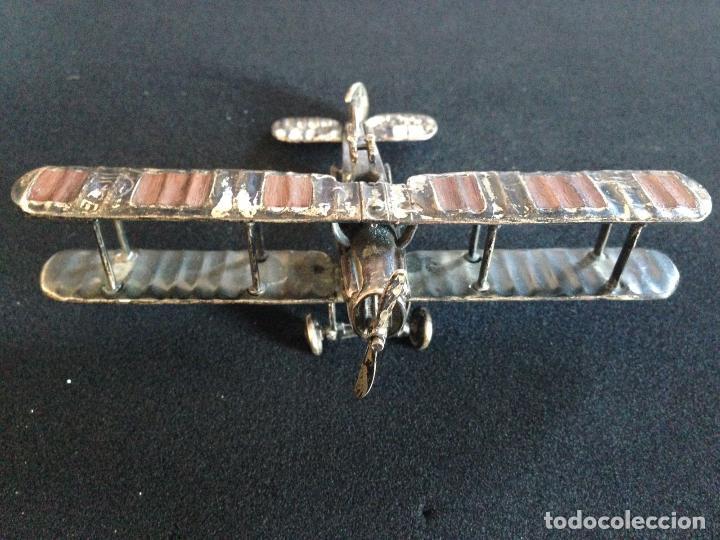 Antigüedades: ANTIGUO AVION BIPLANO DE PLATA - Foto 3 - 110521023
