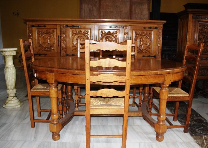 Antigüedades: MESA DE COMEDOR, EN ROBLE MACIZO. REF. 5668 - Foto 8 - 43327040