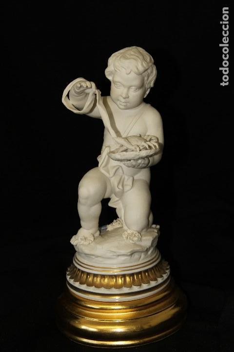 AUTENTICA PORCELANA ALGORA DOCUMENTADA. FIGURA CÁNCER EN BISCUIT. POCO FRECUENTE EN PERFECTO ESTADO (Antigüedades - Porcelanas y Cerámicas - Algora)