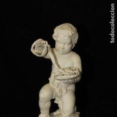 Antigüedades: AUTENTICA PORCELANA ALGORA DOCUMENTADA. FIGURA CÁNCER EN BISCUIT. POCO FRECUENTE EN PERFECTO ESTADO. Lote 110564699