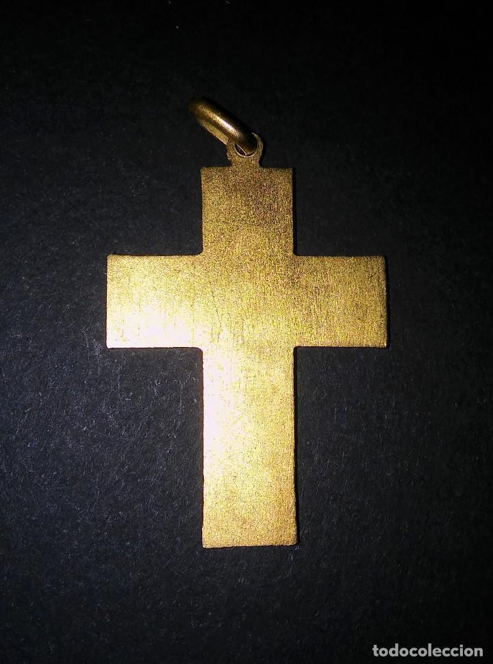 Antigüedades: MEDALLA COLGANTE CRUZ RELIGIOSA PARA COMUNIÓN CRUCIFIJO JHS, DORADA AL MERCURIO, ANTIGUA S XX - Foto 4 - 288447638