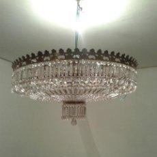 Antigüedades: LAMPARA DE TECHO CRISTALES. Lote 104554043