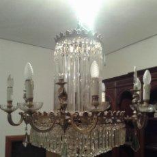Antigüedades: LAMPARA ESTILO IMPERIO , CRISTAL Y ANGELES DE BRONCE. Lote 104556539