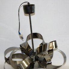 Antigüedades: LAMPARA DE TECHO DE LOS AÑOS 70 EN ACERO. VINTAGE. Lote 110621947