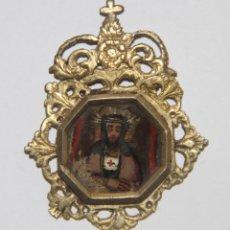 Antigüedades: MEDALLA DEVOCIONAL SANTO. METAL DORADO Y ESMALTE. ESPAÑA. SS. XVII-XVIII. Lote 110640847