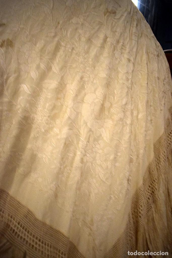 Antigüedades: Increíble mantón de manila de ocho puntas 163 x 323 cm Pieza excepcional S. XIX - Foto 3 - 110685691