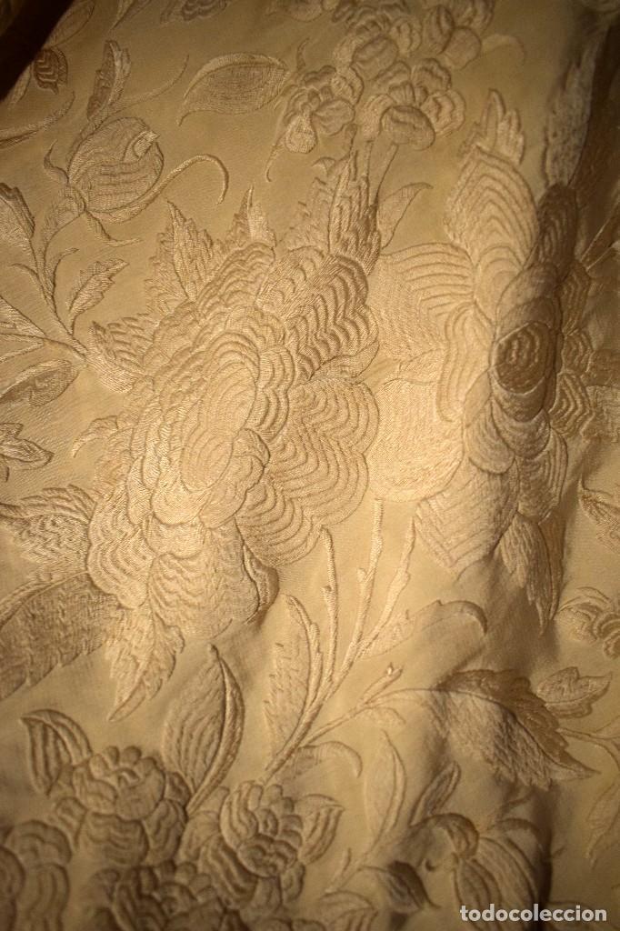 Antigüedades: Increíble mantón de manila de ocho puntas 163 x 323 cm Pieza excepcional S. XIX - Foto 5 - 110685691