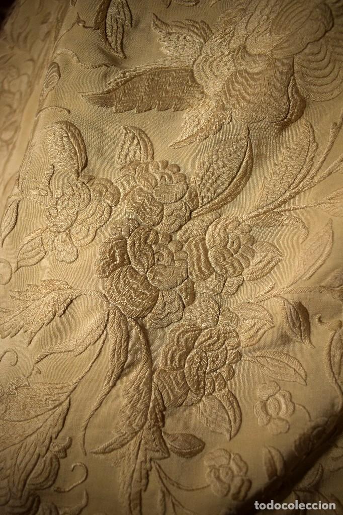 Antigüedades: Increíble mantón de manila de ocho puntas 163 x 323 cm Pieza excepcional S. XIX - Foto 7 - 110685691