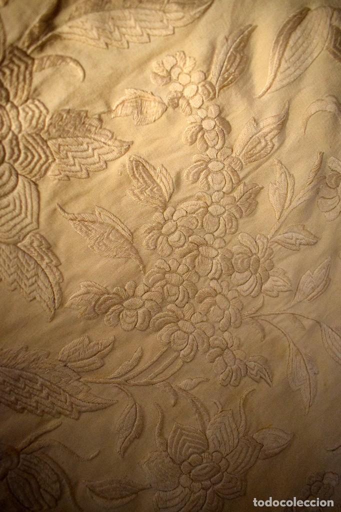 Antigüedades: Increíble mantón de manila de ocho puntas 163 x 323 cm Pieza excepcional S. XIX - Foto 8 - 110685691