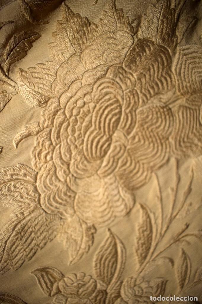 Antigüedades: Increíble mantón de manila de ocho puntas 163 x 323 cm Pieza excepcional S. XIX - Foto 9 - 110685691
