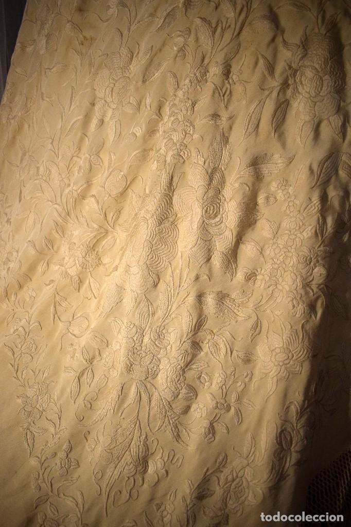 Antigüedades: Increíble mantón de manila de ocho puntas 163 x 323 cm Pieza excepcional S. XIX - Foto 12 - 110685691