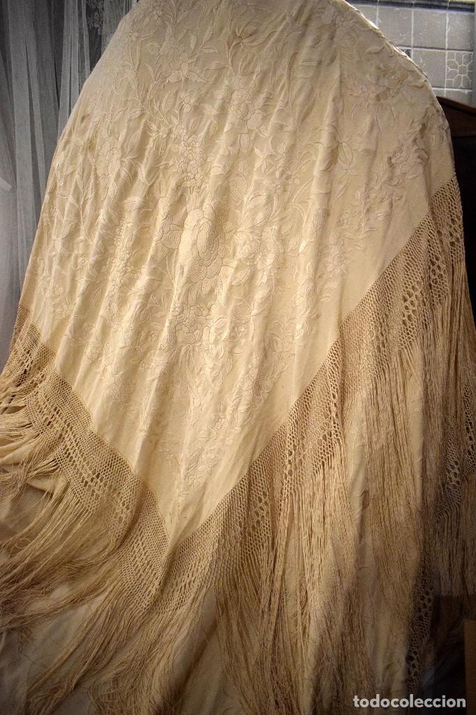 Antigüedades: Increíble mantón de manila de ocho puntas 163 x 323 cm Pieza excepcional S. XIX - Foto 14 - 110685691