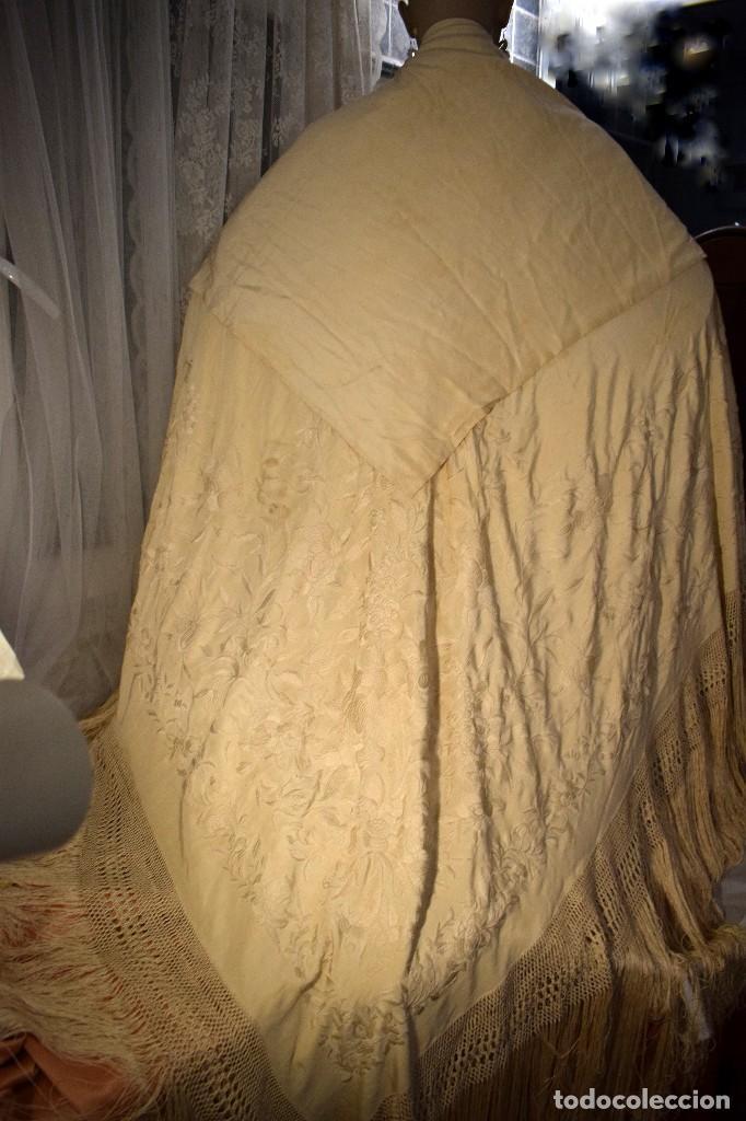 Antigüedades: Increíble mantón de manila de ocho puntas 163 x 323 cm Pieza excepcional S. XIX - Foto 15 - 110685691