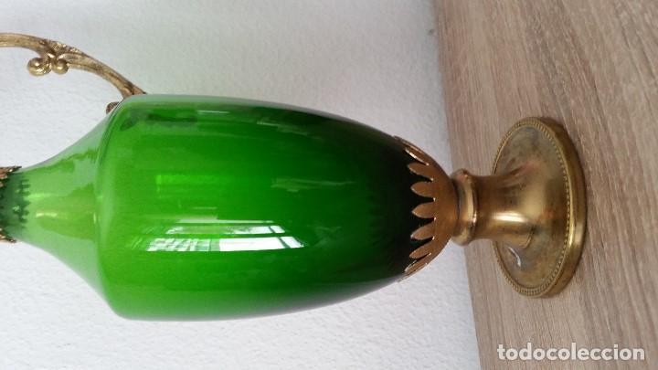 Antigüedades: PRECIOSO Y ANTIGUIO JARO,CRISTAL MORANO SOPLADO LA ASA METAL DORADO SELADO STOCK SIGLO XIX,XX - Foto 7 - 110685807