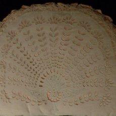 Antigüedades: ANTIGUO GUARDADOR PARA PRENDAS DELICADAS - ENCAJE RICHELIEU SOBRE MUSELINA DE LINO Y SEDA S.XIX. Lote 110661419