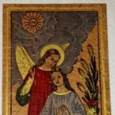 Antigüedades: ANTIGUA Y PRECIOSA ESTAMPITA RELIGIOSA - 10X7CM - ANGEL, VIRGEN.. Lote 110695815
