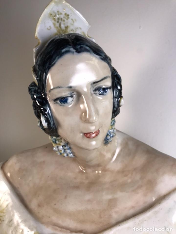 Antigüedades: Figura Cerámica- Peyró- Busto Fallera- 28 cm - Foto 5 - 110768616
