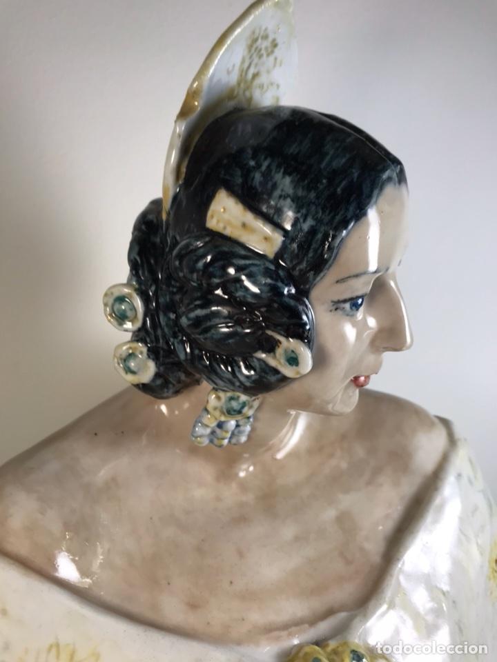 Antigüedades: Figura Cerámica- Peyró- Busto Fallera- 28 cm - Foto 7 - 110768616