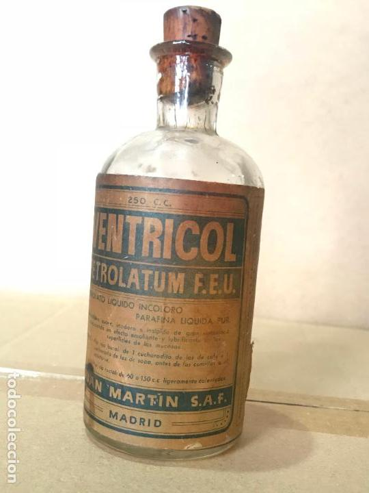 Antigüedades: Medicamento farmacia en frasco de cristal y corcho - Ventricol - Juan Marti S.A.F. - Foto 4 - 110838875