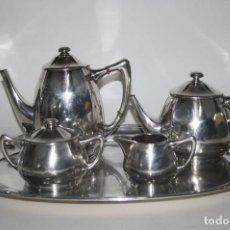 Antigüedades: JUEGO DE TÉ Y CAFÉ. PLATA DE LEY PUNZONADA. HOLANDA. ART NOUVEAU. AÑOS 20. Lote 87274138
