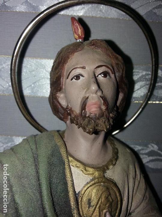 Antigüedades: imagen figura de barro y telas encoladas santo , san judas tadeo - semana santa escultura 24 cm - Foto 3 - 110853515