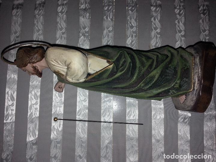 Antigüedades: imagen figura de barro y telas encoladas santo , san judas tadeo - semana santa escultura 24 cm - Foto 4 - 110853515