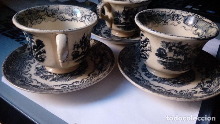 Antigüedades: antiguo juego de tres tasas de cafe y sus platos pickman la cartuja sevilla, - Foto 2 - 230722780