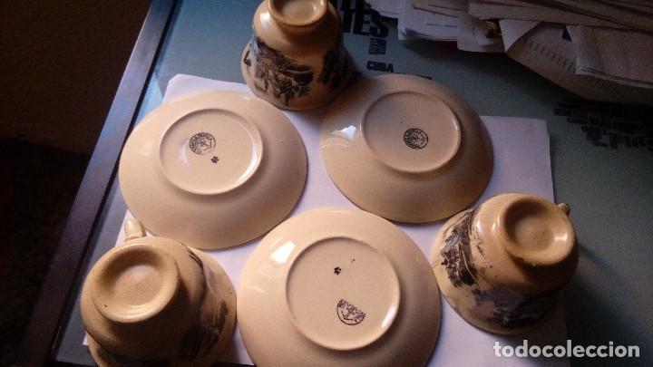 Antigüedades: antiguo juego de tres tasas de cafe y sus platos pickman la cartuja sevilla, - Foto 10 - 230722780