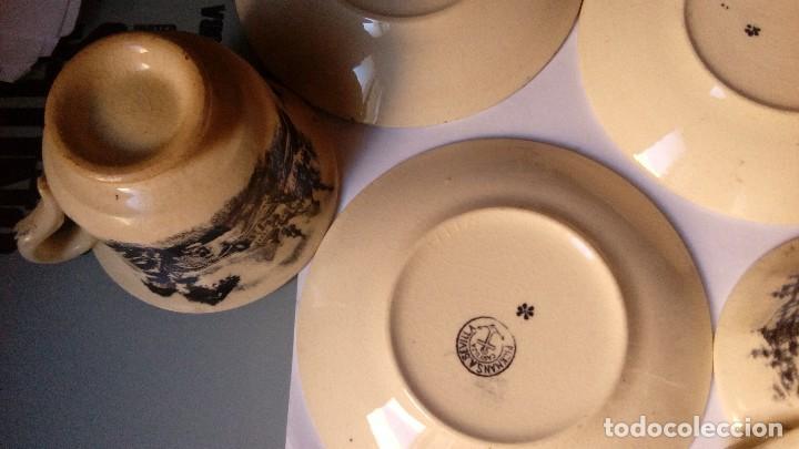 Antigüedades: antiguo juego de tres tasas de cafe y sus platos pickman la cartuja sevilla, - Foto 12 - 230722780