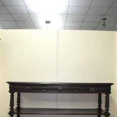 Antigüedades: ANTIGUO APARADOR DE MADERA DE ROBLE TALLADA A MANO. Lote 110880707