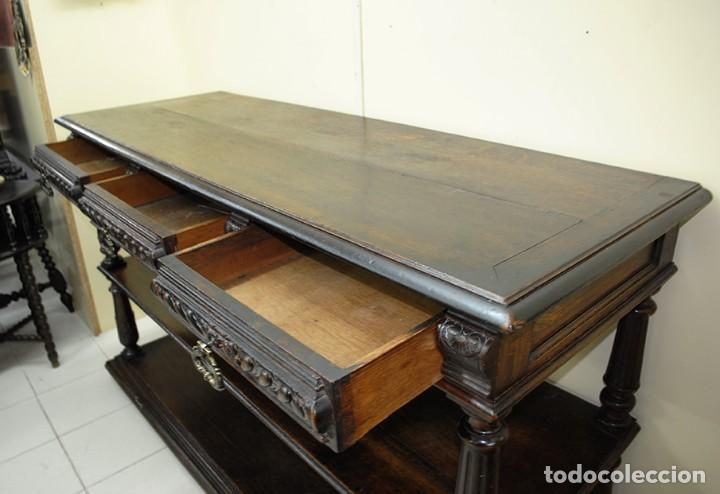 Antigüedades: ANTIGUO APARADOR DE MADERA DE ROBLE TALLADA A MANO - Foto 7 - 110880707