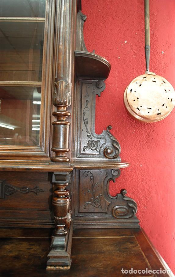 Antigüedades: ANTIGUO MUEBLE TRINCHERO APARADOR MADERA TALLADA A MANO - Foto 5 - 110882379
