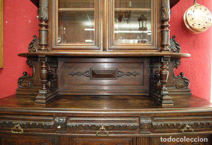 Antigüedades: ANTIGUO MUEBLE TRINCHERO APARADOR MADERA TALLADA A MANO - Foto 6 - 110882379