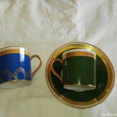 Antigüedades: TAZA Y PLATO CAFE PORCELANA LIMOGES. Lote 110889666
