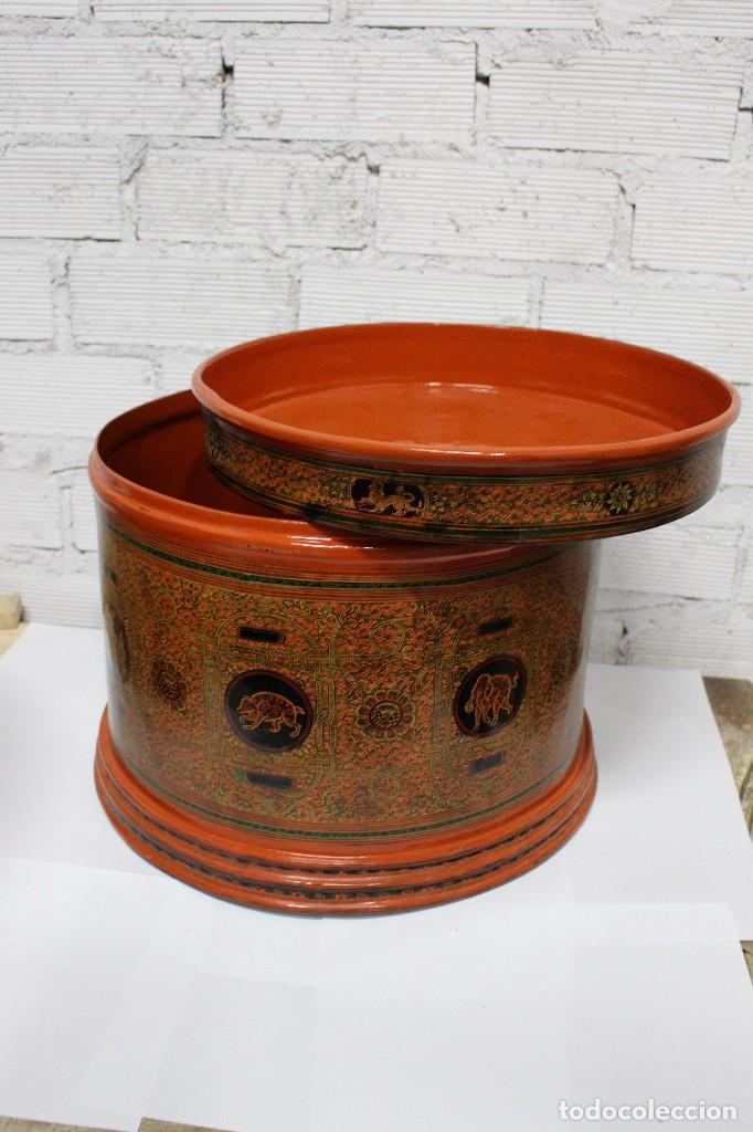Antigüedades: Gran caja de Papel Maché siglo XIX. - Foto 5 - 110910315