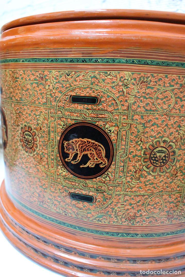 Antigüedades: Gran caja de Papel Maché siglo XIX. - Foto 9 - 110910315