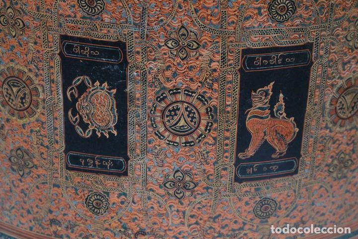 Antigüedades: Gran caja de Papel Maché siglo XIX. - Foto 11 - 110910315