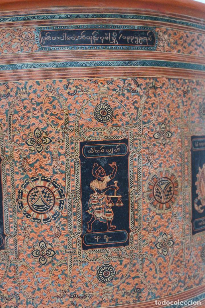 Antigüedades: Gran caja de Papel Maché siglo XIX. - Foto 13 - 110910315
