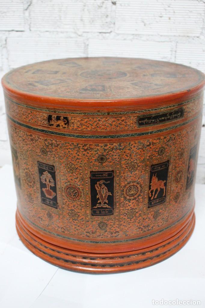 Antigüedades: Gran caja de Papel Maché siglo XIX. - Foto 14 - 110910315