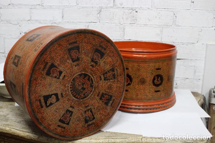 Antigüedades: Gran caja de Papel Maché siglo XIX. - Foto 17 - 110910315