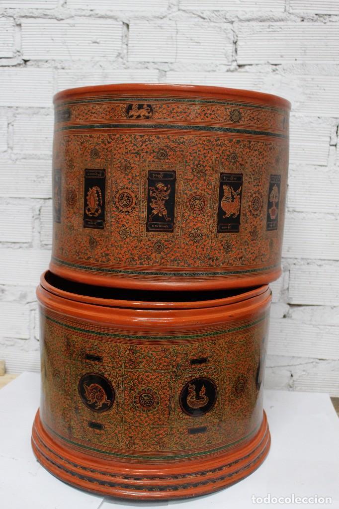 Antigüedades: Gran caja de Papel Maché siglo XIX. - Foto 18 - 110910315