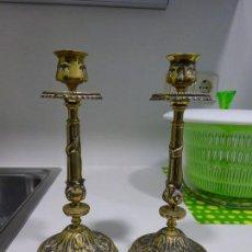 Antigüedades: CANDELABROS DE BRONCE. Lote 110924707