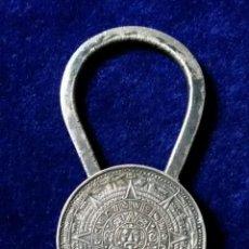 Antigüedades: ANTIGUO LLAVERO CALENDARIO MAYA INCA HECHO EN MEXICO PLATA. Lote 110936191