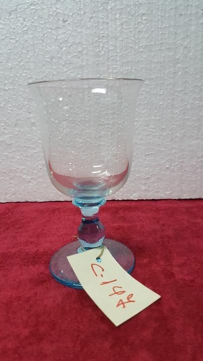 COPA ANTIGUA EN CRISTAL BASE EN AZUL 5000 - 147 (Antigüedades - Cristal y Vidrio - Otros)