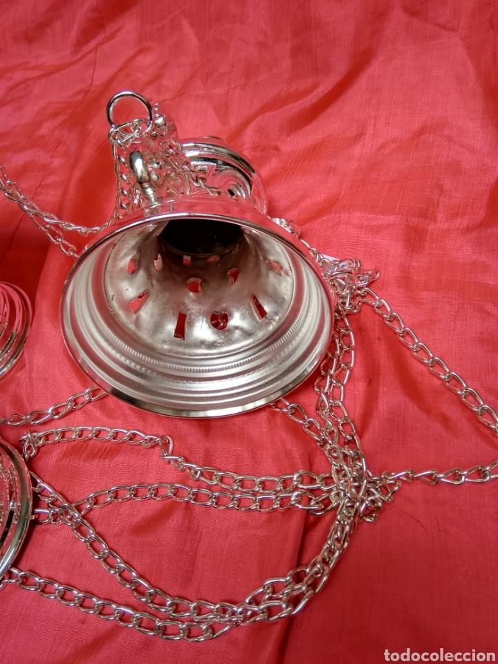 Antigüedades: Incensario de metal con baño de plata 27 cm (nuevo) - Foto 4 - 110952762