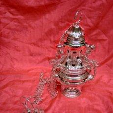 Antigüedades: INCENSARIO DE METAL CON BAÑO DE PLATA 27 CM (NUEVO). Lote 110952762