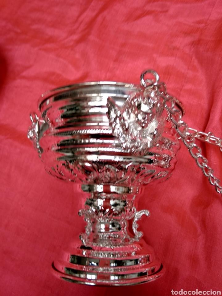 Antigüedades: Incensario de metal con baño de plata 27 cm (nuevo) - Foto 5 - 110952762