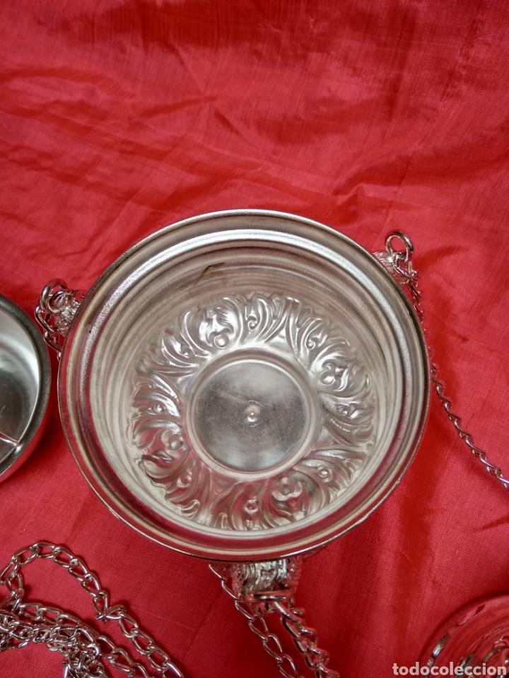 Antigüedades: Incensario de metal con baño de plata 27 cm (nuevo) - Foto 6 - 110952762